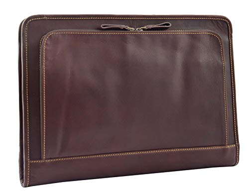 Brown Leather Folio Case Meeting Conference Portfolio A4 Document Underarm Bag Stanford