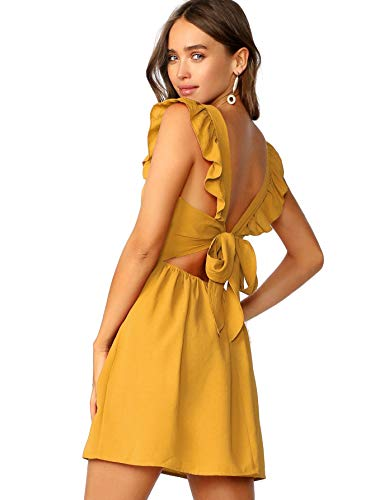 Romwe Women's Cute Tie Back Ruffle Strap A Line Fit and Flare Flowy Short Dress Ginger M