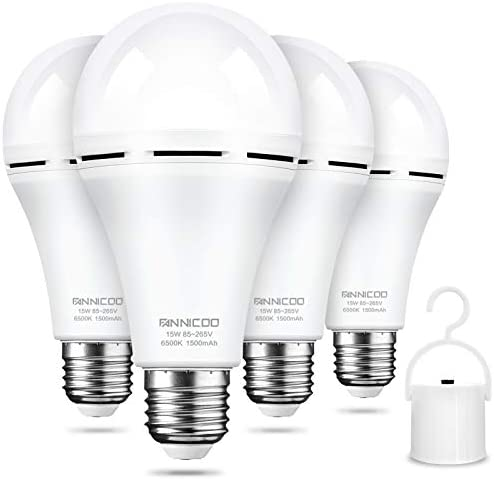 FanNicoo LED Emergency Light Bulb Pack of 4 Battery Backup Cool Daylight White 1200mAh with product image