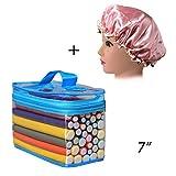Hair Rollers Flexi Rods Set, FushoP 42-PACK 7' roller, hair curlers rollers for hair,flexi-rods hair curling rods flex twist foam + Satin Bonnet