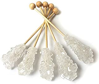 Barista Swizzle Sugar Sticks | Rock Candy Crystals | Individually wrapped | Great for Coffee Tea Matcha Cocktails | White, 100 pieces | Made in the USA