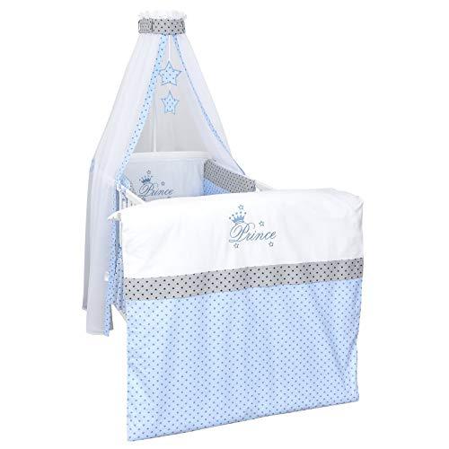 Baby Delux Baby Bettwäsche Bettset 4-tlg Bezüge Netschen Himmel Bettausstattung Bettgarnitur in vielen Designs (Prince Stars)