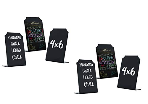 Chalkboard Sign with Stand | Mini Tabletop Food Display -Small Chalk Blackboards with Stand for Cafe & Restaurant Parties Place Cards Buffet Menus and Events Weddings - 4 x 6 Boards (6)
