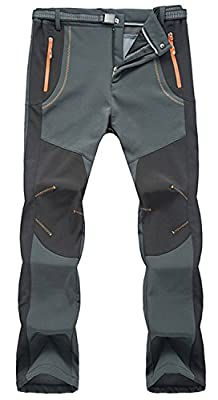 TBMPOY Men's Lightweight Winter Windproof Fleece Lined Snow Ski Pants(02 Thick Grey,us S)