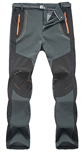 TBMPOY Men's Lightweight Winter Windproof Fleece Lined Snow Ski Pants(02 Thick Grey,us XL)