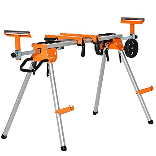 Support pour scie à onglet avec extensions - chevalet de sciage tronçonnage de bûches - pliable avec roulettes - charge max. 150 Kg - alu. métal orange