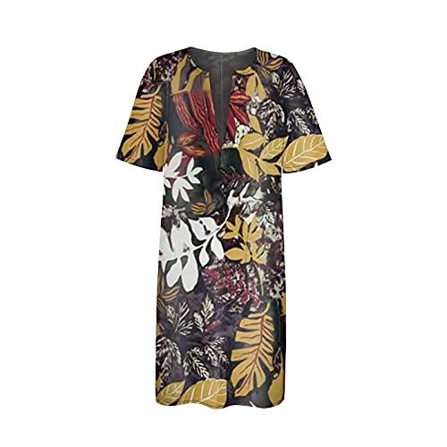Zzbeans Vestido de verano para mujer, largo hasta la rodilla, estilo boho, manga corta, sexy, cuello en V, estilo vintage, suelto, informal, Mujer, amarillo, small