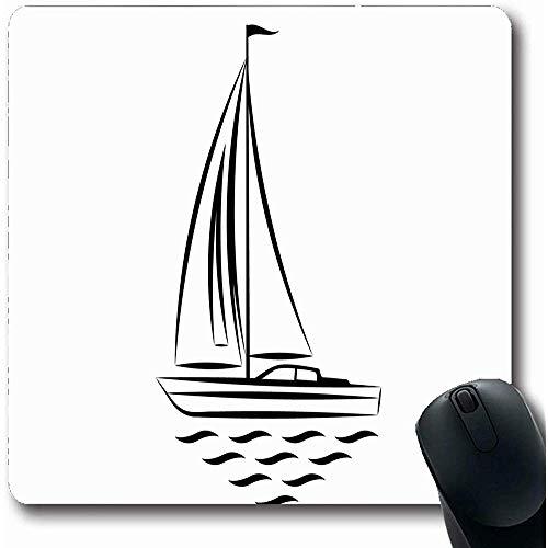 Mausepad Marine Boot Segelboot Clip Segel Sport Erholung Welle Mast Nautische Yacht Aktivität Design Meer Büro Computer Notebook Laptop Mauspad Rutschfeste Mousepad Gummi Längliche 25X30Cm