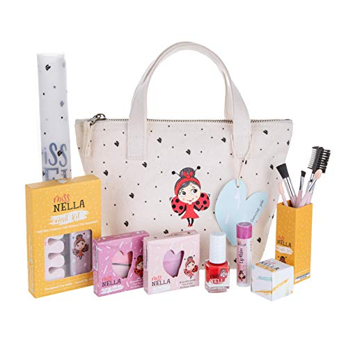 MISS NELLA Special Edition Glamorous Picks Kids Makeup & Nail Polish Set for Little Girls, Hypoallergenic, Dermatologically Tested, Non Toxic, Canvas Cosmetic Bag, Washable