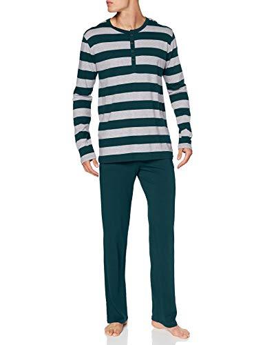 Schiesser Herren lang geknöpft Zweiteiliger Schlafanzug, dunkelgrün, 56