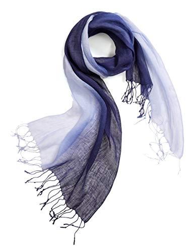 prettystern Foulard à franges en batik tie-dye bleu dégradé Femme Homme 100% Lin printemps été - T69 bleu foncé