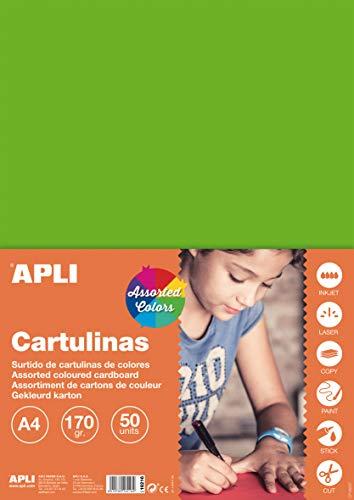APLI 16216 - Cartulinas surtido fluorescente A4 170 g 50 hojas