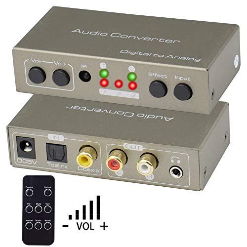 Convertitore Audio Digitale Analogico,Ozvavzk 192Khz Digitale Coassiale Toslink ad Analogico Stereo L/R RCA 3.5mm Audio Supporta Controllo Volume/Audio Effect Swtich via IR Telecomando.