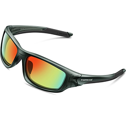 TOREGE Polarized Sports Sunglasses for Man Women Cycling Running Fishing Golf TR90 Unbreakable Frame TR011 (Transparent Gray&Real Red Lens)