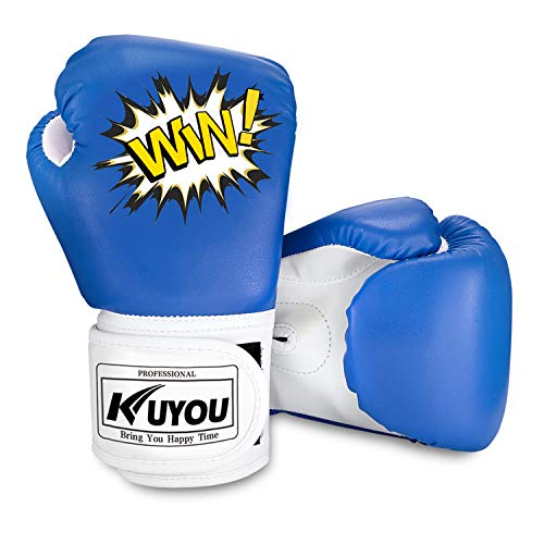 KUYOU Kids Boxing Gloves, Pu Kids Children Cartoon Sparring Boxing Gloves Training Age 5-12 Years (Blue)