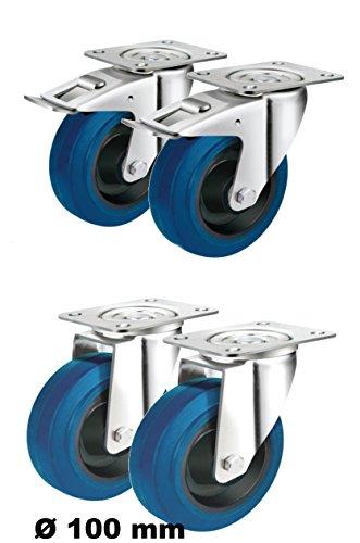 Set mit 4 Rollen lenkbar Ø 100mm je 2 Lenkrollen mit Feststell-Bremsen sowie 2 Lenk-Rollen ohne Feststeller als Transportrollen, Lager Kugellager Reifen aus Elastik Blue-Wheel Indusstrierolle (100 mm)