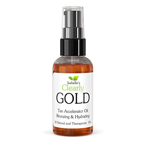 Isabellas Clearly GOLD, 100% Natural Bronzing Tanning Oil. Moisturising & Hydrating Sun Tan Accelerator Body Oil, Healthy Bronze Glow with Olive, Carrot Seed and Coconut (60ml)