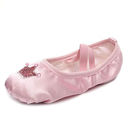 VCIXXVCE Zapatillas de Ballet con Lentejuelas Corona Satinada Zapatos de Ballet para niñas/niños pequeños/niñas, Rosa, EU 28
