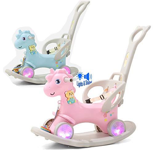TikTakToo 3In1 Kinder Schaukelpferd Schaukeleinhorn mit Rutschauto Rutscher Schaukeltier Mädchen Und Jungen Schaukelstuhl LED Leuchträdern (rosa)