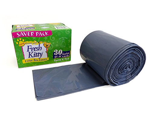 Fresh Kitty Super Thick, Durable, Easy Clean Up Jumbo Scented Litter Pan Box Liners, Bags with Ties for Pet Cats, 30 ct