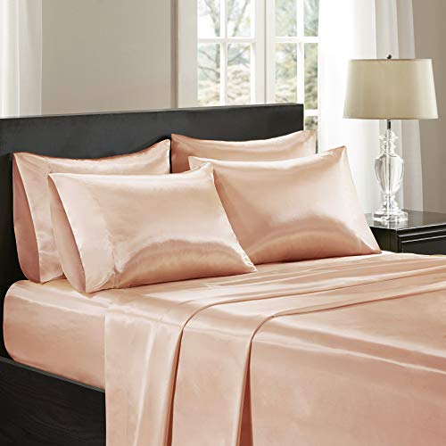 Madison Park Satin Wrinkle-Free Luxurious and Silky with 16' Deep Pocket 6 Piece Durable Sheet Set, Queen, Blush