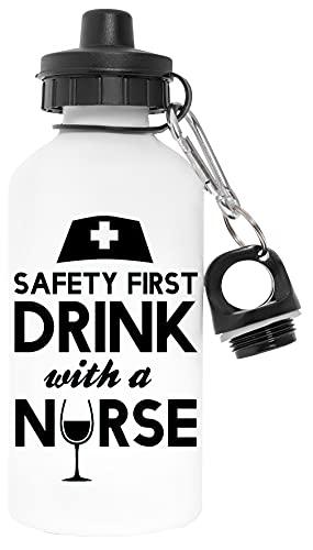 Safety First Drink With A Nurse Libre de Contaminantes Blanco Botella De Agua Aluminio Para Exteriores Pollutant Free White Water Bottle Aluminium For Outdoors