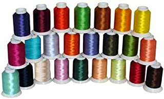 24-Cone Polyester Bobbin Machine Embroidery Thread Kit - 24 Colors - 1100 Yards - 60wt- ThreaDelighT
