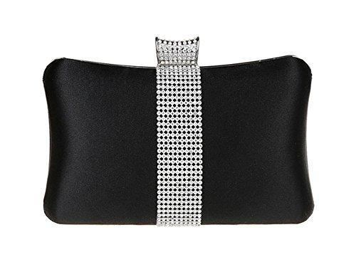 AnKoee Elegante Borsetta con Tracolla da Donna Pochette con Diamante Pochette Eleganti da Cerimonia Borsa Sacchetto da Sera (Nero)