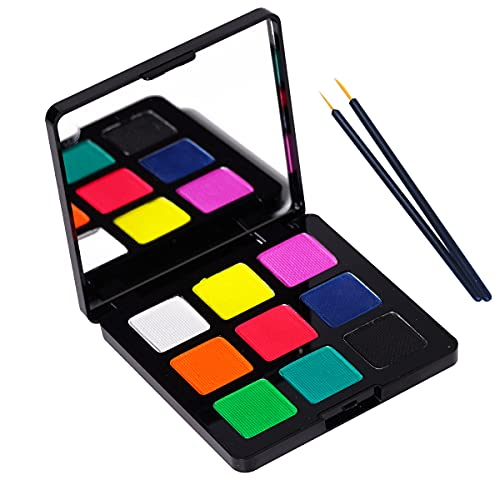 Bowitzki 9 Colors Water Activated Eyeliner Retro Hydra Liner Makeup UV Glow Fluorescent Color Face and Body Paint