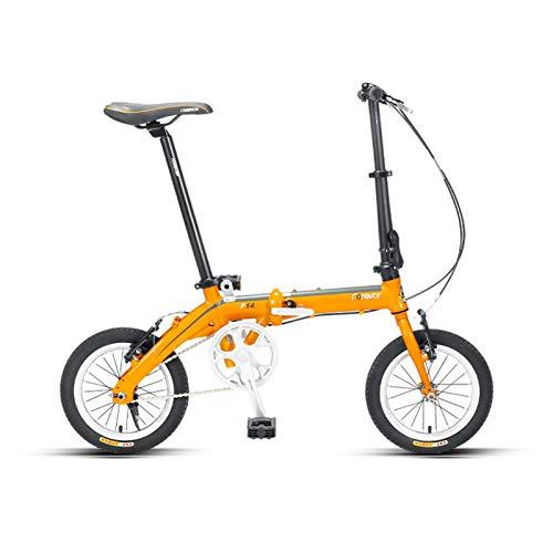 JKCKHA Bicicleta Plegable para Mujeres | Bicicleta De Ciudad para Mujeres Ultraligera De 14 Pulgadas | para Adultos,Amarillo