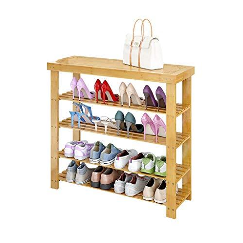Mnjin Stehregal Einfaches Stehregal Mehrschichtiger staubdichter Schuhschrank Schuhbank wechseln Haushaltsregal Schuhaufbewahrung Massivholz (Größe: fünf Stockwerke)