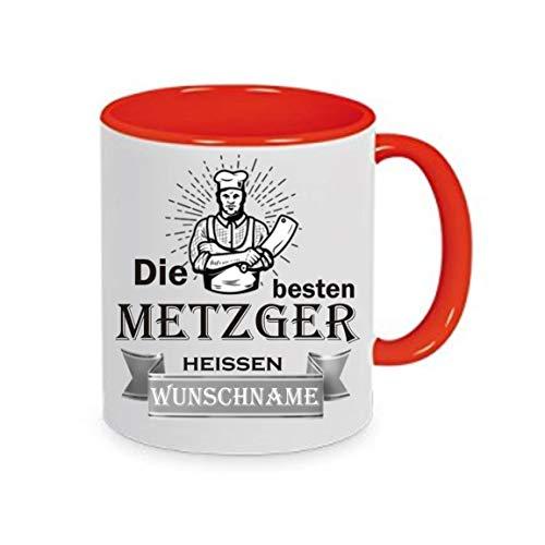 Crealuxe Tasse m. Wunschname Die besten Metzger heißen (Wunschname) - Kaffeetasse mit Motiv, Bedruckte Tasse mit Sprüchen oder Bildern