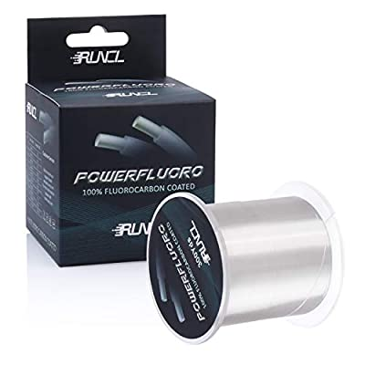 RUNCL PowerFluoro Fishing Line 1000/500/300Yds, 100% Fluorocarbon Coated Fishing Line, Fishing Leader Line - Virtually Invisible, Faster Sinking, Extra Sensitivity, Abrasion Resistance, 5-32LB