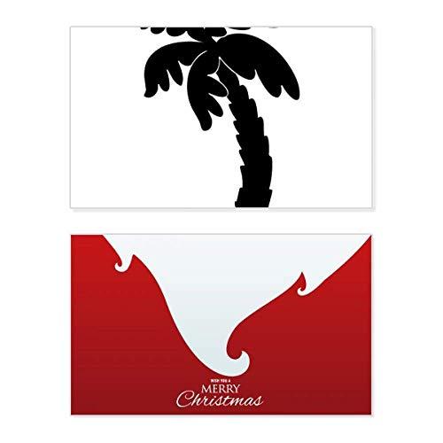 Kokos Boom Plant Zwart Silhouette Vakantie Vrolijke Kerstkaart Kerstmis Vintage Boodschap