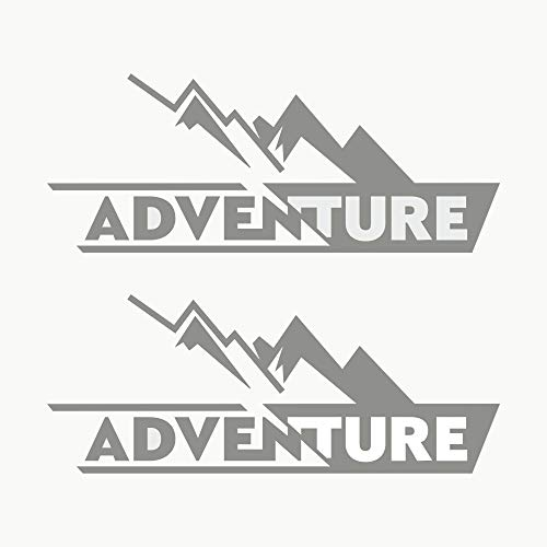 Autodomy Pegatinas Adventure 4x4 Off Road Todoterreno Sport Maletas Moto Cofre Trail Pack 2 Unidades para Coche o Moto (Plata)