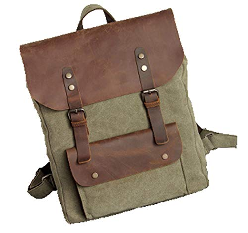Vintage Leather Military Canvas Men's Backpack Women School Backpack Rucksack Army Green Large