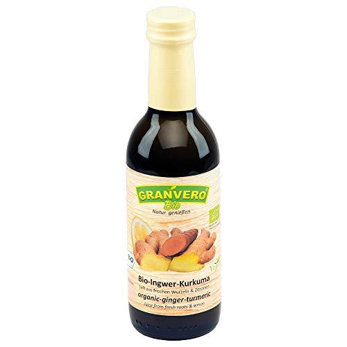 GRANVERO, Bio Ingwer-Kurkuma-Saft, 1 Flasche 250 ml, 100% Direktsaft