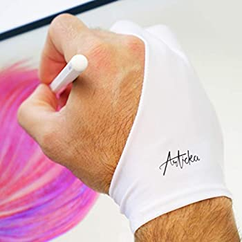 Articka Artist Glove for Drawing Tablet iPad  Smudge Guard Two-Finger Reduces Friction Elastic Lycra Good for Right and Left Hand  White  Small