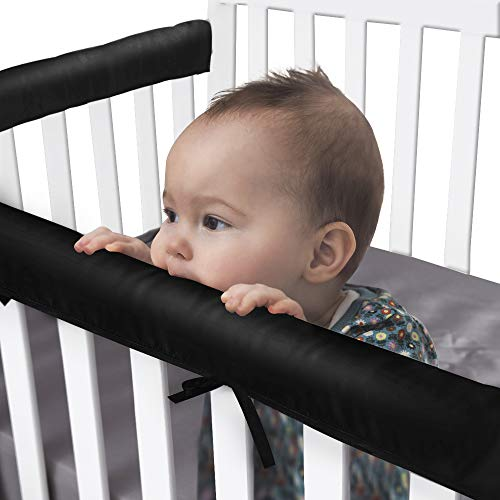 Pro Goleem 3-Piece Thick Crib Rail Cover Satin Crib Rail Protector Set from Chewing Safe Guard Wrap for Most Standard Cribs Padded with Hypoallergenic Microfiber Fits Front and Side Rails, Black
