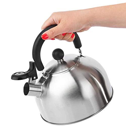 Edelstahl-Tee-Kessel, Whistle-Kessel mit abnehmbarem Griff und Deckel, lebender Nostalgie-Wasserkocher in Pfeife 2.3L, für Induktionsofen, Herd, Gasherd