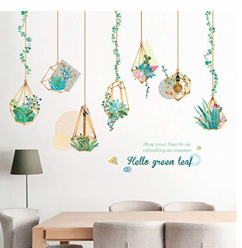 Lienhao Grote groene bladeren muursticker voor vetten en vet, decoratie van het huis groene planten hangende mand kunst decoratie knutselen 150 x 102 cm