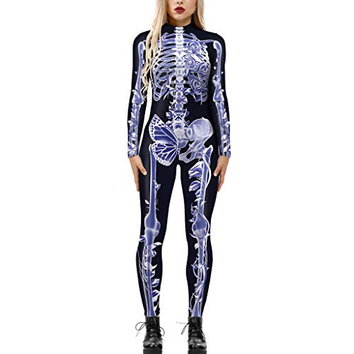 Women's One Piece Outfits Jumpsuit Halloween Full Skeleton Butterfly Graphic Long Sleeve Slim Costumes Zipper Jumpsuit Purple