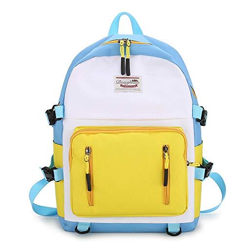 XIAOKEKE Mochila casual simples de lona, ombro de estudante, cor combinando, pequena, bolsa selvagem, Cordão, 3, 30*13*45cm