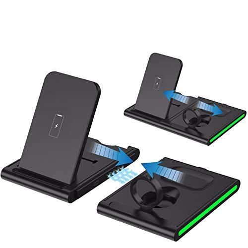 Nomi Cargador RáPido Plegable Cuatro En Uno, Cargador InaláMbrico Desmontable, Compatible con iPhone 12/11 / Pro MAX/XS/XR, Adecuado para Iwatch Series 6/5/4/3/2/1 Y Airpods Pro / 1/2 Black