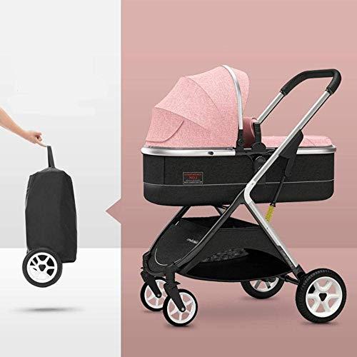Landaus High View Pram Transport, Poussettes Buggy Compact, Portable bébé Poussette Anti-Choc en Aluminium Poussette Fournitures pour bébé ( Color : Pink )