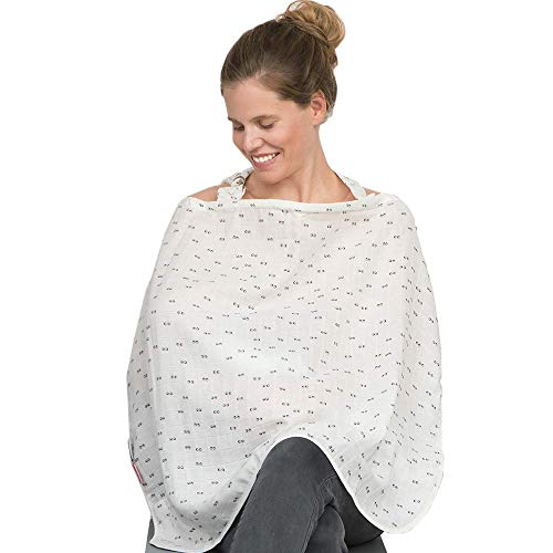 SIMPLY GOOD Muslin Nursing Cover for Breastfeeding – Privacy Baby Feeding Cover Up Scarf – Breathable and Adjustable with Terry Cloth Corner – Generous Size 33.4 x 27.5 Inches (Grey Eyes on White)