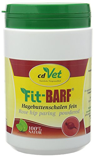 cdVet Naturprodukte Fit-BARF Hagebuttenschalen fein 500 g - Hund - zur bedarfsgerechten Versorgung bei Rohfütterung - reich an Vitamin C - Radikalfänger - fein gemahlen - BARFEN - Immunsystem -