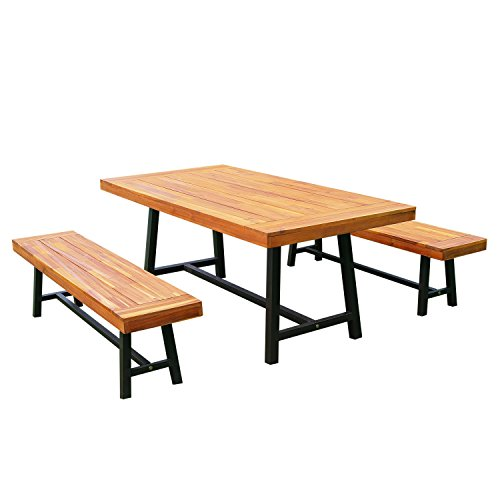 Outsunny Garden 3 Pieces Acacia Wood Picnic Table and 2 Benches Set Dining...