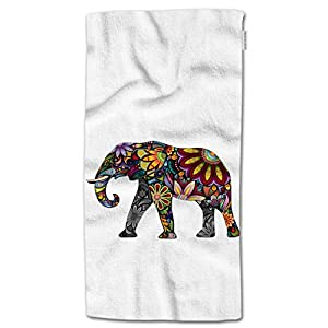 "HGOD DESIGNS Elephant Hand Towels,Mandala Indian Colorful Floral Elephant 100% Cotton Soft Bath Hand Towels for Bathroom Kitchen Hotel Spa Hand Towels 15""X30"""