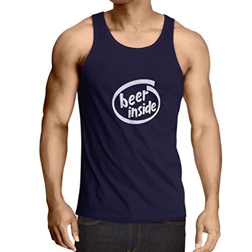 Weste Bier innen - für Bierliebhaber, lustiges Logo, humorvolles Geschenk, Kneipe, Bar, Party-Kleidung (Medium Blau Weiß)